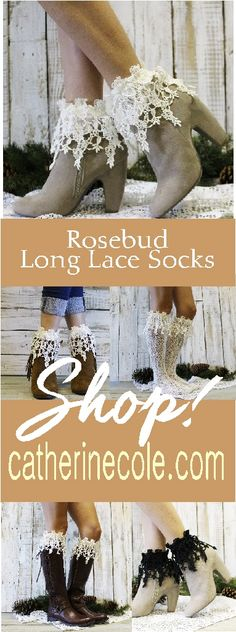 Fall Fashion! Rosebud long lace socks for the lace obsessed. Great sock style for booties and ankle shoes. See more lace sock style at Catherine Cole Studio. Fall fashion socks.