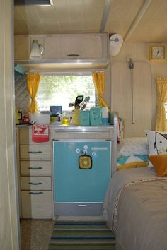 Aqua and yellow trailer interior.