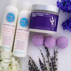 Lavendar bath bombs, lotion and sugar scrub.