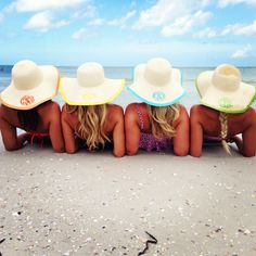 Marleylilly Monogrammed Hats - perfect for bachelorette parties, a trip with the girls or family vacation - we need these for our girls beach trip!