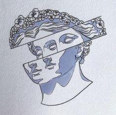 "Likes, 24 Comments - Bryce ""The Sandman"" Wong ( . Aesthetic Drawing, Aesthetic Art, Aesthetic Green, Art Sketches, Art Drawings, Natur Tattoos, Greek Statues, Buddha Statues, Statue Tattoo"
