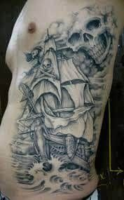 What does pirate tattoo mean? We have pirate tattoo ideas, designs, symbolism and we explain the meaning behind the tattoo. Pirate Tattoo, Pirate Inspired Tattoo, Pirate Ship Tattoos, Body Art Tattoos, Sleeve Tattoos, Cool Tattoos, Gun Tattoos, Awesome Tattoos, Skull Tattoos