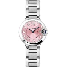 W6920038 Ballon Bleu - 28mm - Cartier - Pink Dial Stainless Steel... (234.985 RUB) ❤ liked on Polyvore featuring jewelry, watches, stainless steel wrist watch, dial watches, quartz movement watches, pink-face watches and stainless steel watches