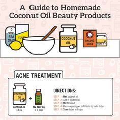 Coconut oil beauty products are very popular on the market, but you can make them yourself easily... Tips for coconut oil acne treatment, beauty tips. #TeaTreeOilForAcne