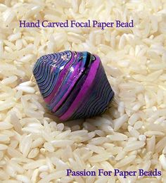 Hand Carved Focal Paper Bead by PassionForPaperBeads on Etsy Paper Quilling Jewelry, Paper Bead Jewelry, Make Paper Beads, How To Make Beads, Clay Beads, Metal Beads, Bead Crafts, Paper Crafts, Paper Art