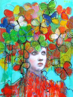 The Butterfly Hat -  - Fine Art Reproduction On Wood by Maria Pace-Wynters
