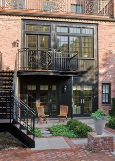 brooklyns apartment #brick #patio #grand #staircase