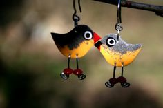 Unique orange robin bird earrings orange robin by HorakovaDesigns, $14.00