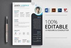 CV Resume & CoverLetter Word Format by Psd Templates on Resume Design Template, Cv Template, Resume Templates, Design Templates, Print Templates, Resume Tips, Resume Cv, Resume Examples, Business Brochure