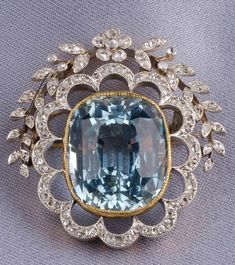 edwardian diamond and aquamarine brooch from France - Skinner, Inc.