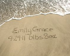 Names in the Sand Birth Announcement Beach Writing Baby Boy Girl by BeachwritingsNJ, $13.00
