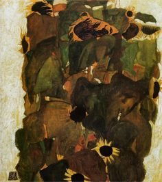 "transistoradio: "" Egon Schiele, Sunflowers oil on canvas, 81 x 90 cm. Collection of Albertina, Vienna, Austria. Via WikiPaintings. Gustav Klimt, Oil Canvas, Canvas Art Prints, Oil Painting Gallery, Painting & Drawing, Oil Paintings, Egon Schiele Landscape, Van Gogh Sunflowers, Sunflower Art"
