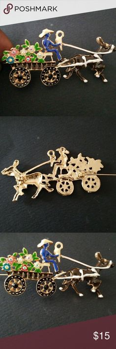 """UNIQUE HORSE DRAWN WAGON PIN BROOCH BRAND NEW. NEVER WORN. GOLD TONE AND ENAMEL. IRIDESCENT STONES. LOCK CLASP.  APPROX 3"""" Jewelry Brooches"""