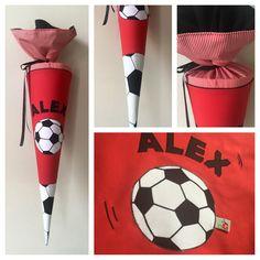 Schultüte aus Stoff Fußball, Fußballfeld und Ball
