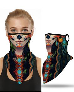Shop Skull Pattern Breathable Ear Loop Face Cover Bandana Windproof Motorcycling Dust Outdoors right now, get great deals at clothmyths Masque Halloween, Halloween Costumes, Fairy Costumes, Halloween 2, Halloween Dress, Halloween Face Makeup, Do Rag, Balaclava, Earmuffs