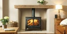 New wood burning stove fireplace style 28 ideas Home Fireplace, Cosy Living Room, Fireplace Design, Farrow And Ball Living Room, Living Room With Fireplace, Home Living Room, Wood Burning Stoves Living Room, Standing Fireplace, Woodburning Stove Fireplace