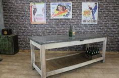 This zinc top kitchen table is a stunning piece of vintage industrial furniture. This zinc top industrial style work bench or kitchen island features a limed wax finish base: