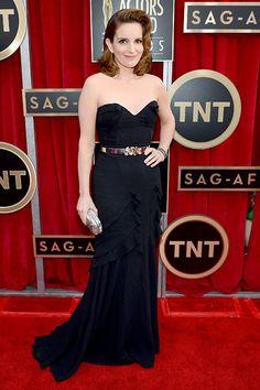 Tina Fey - The 30 Rock winner looked glamorous in Oscar de la Renta, with Fred Leighton jewels and an Oscar de la Renta clutch.