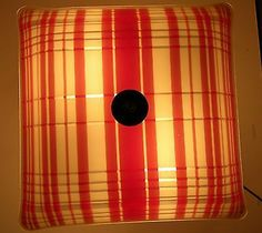Vintage Ceiling Light Fixture Shade Red Plaid Mid Century Glass Square Deco | eBay