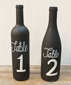 Chalkboard Wine Bottle Table Numbers - Set of 10 by Belle Amour Designs