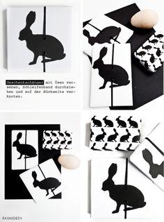 Hasengeschenkanhänger - mit Vorlage als pdf --- paper easter bunny tags with free template --- von RAUMIDEEN: GESCHENKIDEE