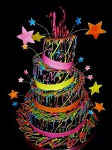 Neon Cake--a suggestion (november 2013) for a sweet sixteen--black light/neon are a popular way to go for sweet 16