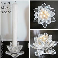 Found for $3.99: a crystal candle holder that I use on my floating foyer shelf to put my mints. anniehearts.com