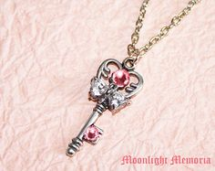 Sailor Moon Necklace - Inspired by Sailor Chibi Moon's Key of Time and Space - Handmade Pink Silver Heart Sailor Moon Necklace Jewelry Gift. $25.00.