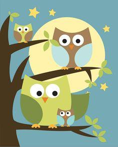 Owl . Baby Nursery Wall Art . Children Wall Art. $20.00, via Etsy.