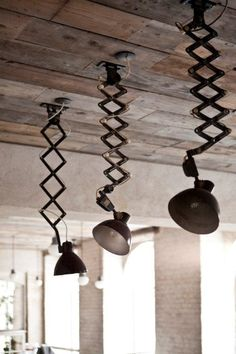 industrial—unusual pendant lighting and reclaimed wood ceiling. Again another extendible and flexible light design. Vintage Industrial Lighting, Industrial House, Industrial Interiors, Rustic Industrial, Industrial Design, Industrial Furniture, Deco Luminaire, Luminaire Design, Deco Restaurant