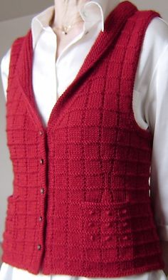 Free Knitting Pattern for Buttonbox Vest - Elizabeth McCarten's vest features a modified gansey pattern with french knots and pockets. Knitters have customized this pattern for other stitch textures, without the pockets, or deeper shawl collar. Great range of sizes XS/S-3X. Pictured project by Tricodentelle