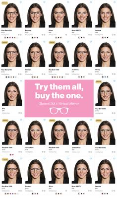 With GlassesUSA's Virtual mirror technology  you can try on each one of our 2,500 styles and pick the one perfect for you. Sign up for 50% off your first pair!