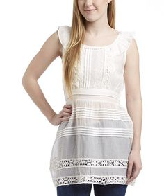 Another great find on #zulily! White Pleated Sleeveless Top by Simply Irresistible #zulilyfinds