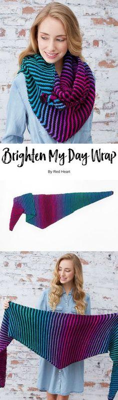 Brighten My Day Wrap free knit pattern in Super Saver yarn.