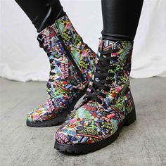 Images of Marvel Comic Print Women's Boots