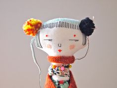 Textile art doll embroidered display soft sculpture Oshi doll
