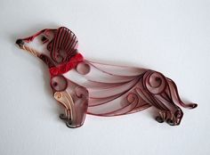 Quilled Paper Brown Dachshund for Home Decor - Dachshund Wall Decor