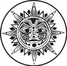 Aztec Sun Stone Coloring Pages