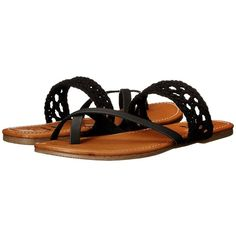 Billabong Sandy Shorz Women's Sandals ($45) ❤ liked on Polyvore featuring shoes, sandals, faux leather sandals, crochet shoes, vegan sandals, billabong sandals and vegan shoes