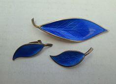 Vintage David Andersen Earrings and Pin Enamel and Sterling Silver Blue Leaf