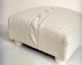 Chunky Cable Knit Covered Cream Foot Stool