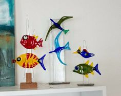Fused glass - fish and birds
