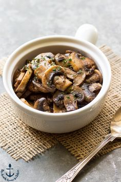 These Marsala Mushrooms are succulent and savory and couldn't be simpler! Perfect with burgers, chicken, omelettes or even served as a side dish.