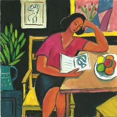 Mujer leyendo  a Matisse, 2015 Gouache sobre papel, 20x20 cm  Guillermo Martí Ceballos