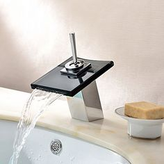 Contemporary Waterfall Bathroom Sink Taps with Glass Spout