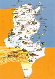 Map of Tunisia one of the five Nations of Africa's Mediterranean Sea World Thinking Day, World Geography, Mediterranean Sea, Africa Travel, North Africa, Social Studies, Tourism, Arabic Alphabet, Africa