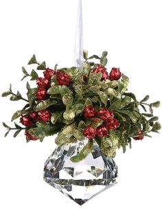 Mistletoe Kissing Ball with crystal for extra sparkle....I'm going to make theses for my house