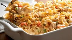A comforting and delicious casserole featuring chicken, veggies, tons of cheese and of course always smooth, firm and delicious NO YOLKS(R) Noodles.