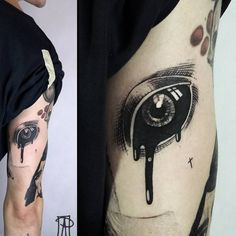 Eye as connector Black Eye Tattoo, Black Tattoos, New Tattoos, Body Art Tattoos, Clever Tattoos, Sick Tattoo, Gothic Tattoo, Tatuagem Old School, Neo Traditional Tattoo