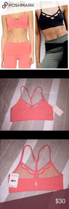Free People Moonshadow T-back Sports Bra in coral Style #OB465629                                                Wire-free bralette Built for low-impact activities Compression fit holds the breast tissue down Mirror your natural shape in unlined double-layer cups Stylish cut-out detail and T-back design Stretch cotton blend with mesh lining Content:   Body: 45% Nylon, 40% Cotton, 15% Elastane. Lining: 89% Polyester, 11% Elastane. Free People Intimates & Sleepwear Bras